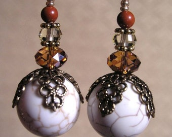 White Turquoise Magnasite Earrings with Vintage Brass and Swarovski Crystal