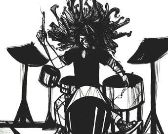 Little Drummer Girl Black & White Print