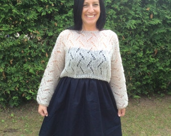 Pattern PDF Summer shrug in mohair, very light, knitted in one piece