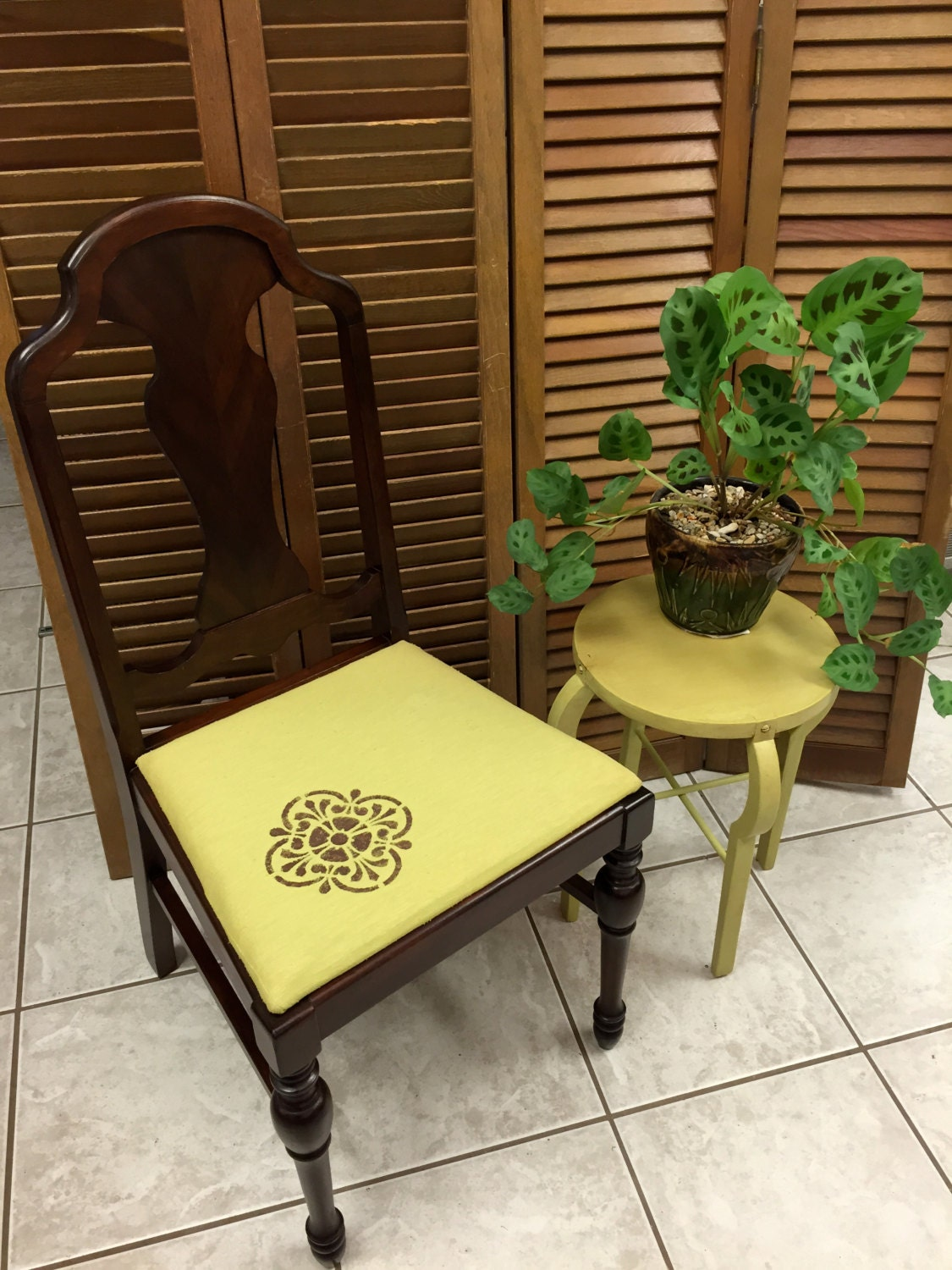 Antique walnut chair with stencil upholstery lime green dining kitchen bedroom living room desk - Green mountain furniture for bedroom dining and living room ...