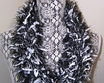 Black & White Infinity Scarf Cowl, Black Eyelash, White Fabric Tabs