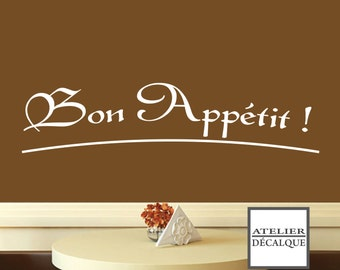 Decal wall No.. S 005 - Bon appétit!  -Free delivery to the Canada