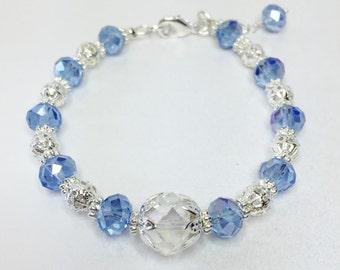 Blue Crystal Wedding Bracelet Blue Jewelry Bridesmaid Gift Wedding Jewelry Crystal Bracelet Crystal Jewelry Bridesmaid Charm Jewelry Set