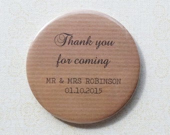 Kraft brown paper design wedding favours, bottle openers or mirrors, choice of message, personalised [40 x 58mm mirrors / bottle openers]