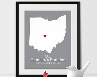 Ohio State Map Art, Columbus Wedding Gift for Couples Anniversary Gift Personalized Couples Gift for Her Ohio Gift -Any STATE