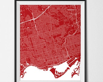 Toronto Map Print, Toronto Poster of Ontario Map of Toronto Gift Ontario Canada Art, York University Art Poster College Dorm Room Art