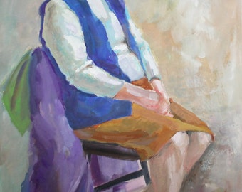 Vintage portrait gouache painting