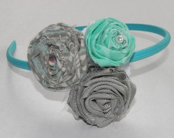 Teal, Grey, and Patterned Flower Headband