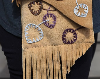 Beaded brain tanned elk leather satchel