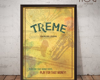 Treme Poster - New Orleans  - Unique Retro TV Poster - Print, Poster, Wall Art