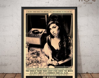 Amy Winehouse Poster - Quote Retro Music Poster - Music Print, Wall Art