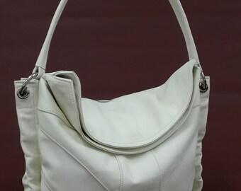 Beige leather shoulder bag, Soft leather bag, Hobo bag.