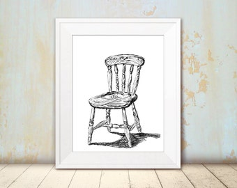 Chair printable, Dorm wall art, Chair art printable, Black and white poster, Kitchen decor, Antique chair, Hostess gift