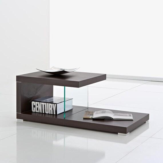 tavolino basso salotto porta tv con 2 ripiani legno wengé - Tavolo Soggiorno Wenge 2