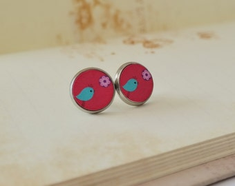 Earrings Blue Chick