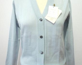Vintage 60s Cardigan | 1960s Sweater | Vintage Sweater Button Up | 60s Cardigan Blue M Medium