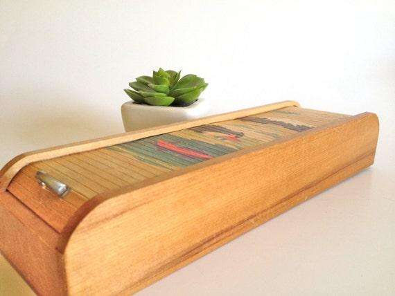 Vintage Rolltop Painted Tambour Pencil Box Mount Fuji