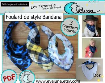 Patron Foulard bandana , bavoir bandana , Foulard enfant , bavoir bébé , Pdf Français , 3 grandeur patron incluses , accessoire  cowboy