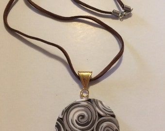 Polymer Clay Disc Pendant