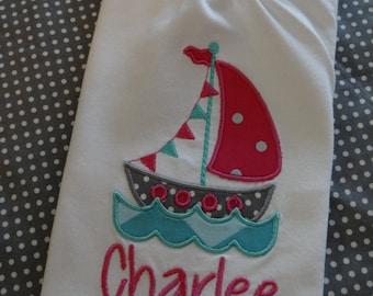 Girly Sailboat Applique Shirt