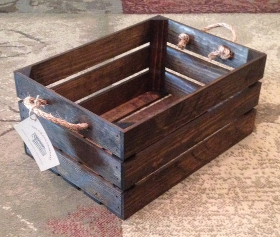Medium wood crate with rope handles l w by