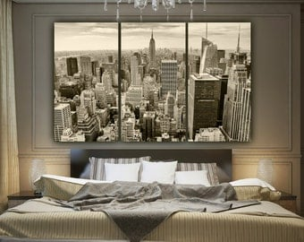 New York Skyline SEPIA Tone Canvas  Art, Empire State, New York Art, New York City, New York Canvas, New York Poster, New York Photo