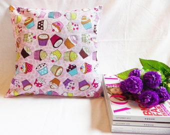 Cupcake Cushion Cover, Cupcake Throw Pillow, Pink Pillow, Kawaii Pillow, Pink Cushion, Decorative Pillow, Nursery Decor, Girls Room Decor