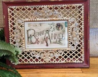 BONNE ANNEE Vintage Framed Postcard