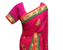 Fuchsia chiffon fabric with Contrast  Red and Green Border Bollywood Indian Party wear Exclusive saree shops online store in London UK 7175