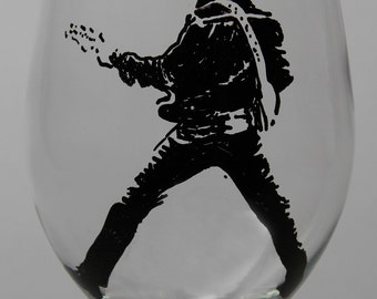 Hand Painted Glass, Painted Wine Glass, Elvis Presley