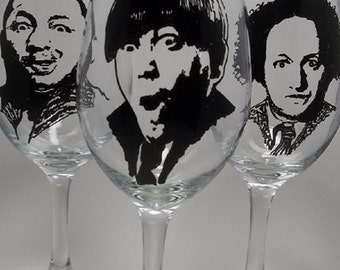 The Three Stooges, Hand Painted Glasses, Painted Wine Glasses