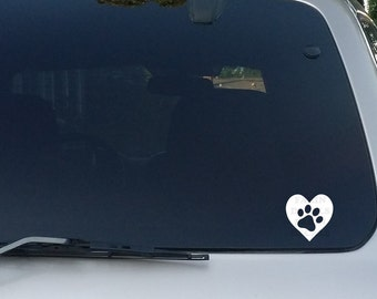 Paw in Heart Decal Paw with Heart Sticker Dog Cat Canine Feline for Cars, Trucks, Tablets, Macbooks and Laptops