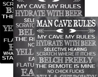Chalkboard Man Cave Rules, my cave my rules, what happens in the man cave stays in the man cave 6 chalkboard backgrounds, 3 sizes, beer