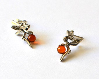 Cognac Amber Earrings Sterling Amber Fairy Earrings tinker bell Amber Jewelry Amber Stud Earrings
