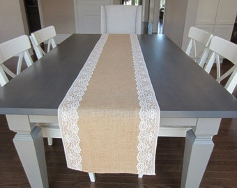 "Burlap and white lace table runner - rustic wedding table runner - 14"" wide"