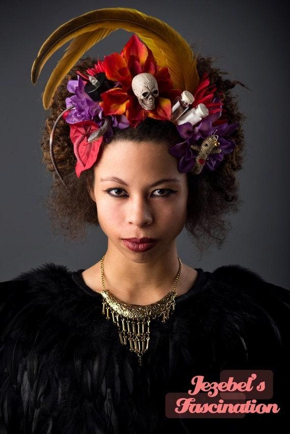 Voodoo Queen Fire Floral Crown Skull Doll Vial Snake Black Voodoo Queen Costume