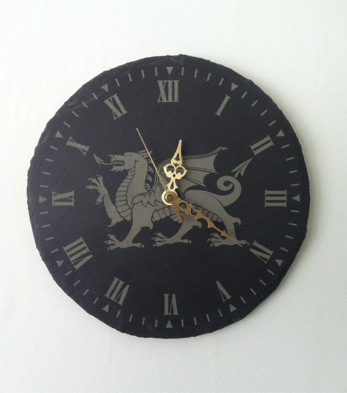 Welsh Dragon Slate Round Wall Clock