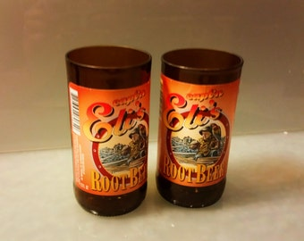 Captain Eli's Root Beer Soda Bottle Drinking Glass Set of 2