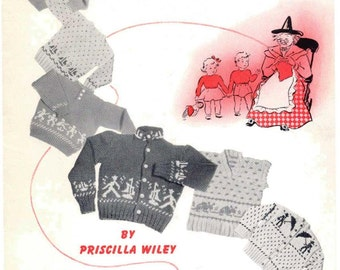 ALMOST FREE! Instant PDF Download Vintage Knitting Pattern Book Mother Goose Nursery Rhyme Design Sweaters Cardigans 6 months-6 years