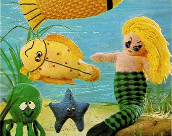 Instant Download PDF Vintage Knitting Pattern 70's to make A Pretty Mermaid, Seahorse,Crab,Octopus,Fish Stuffed Plush Soft Body Toys