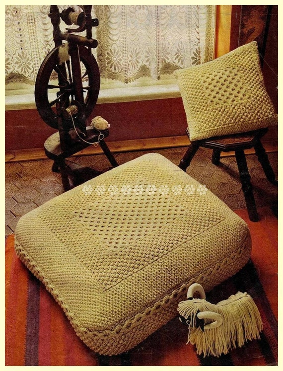 Vintage Knitting Pattern to make A Large Aran Floor Cushion 30