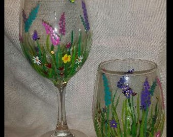Spring Time Wine Glass and Stemless Wine Glass set of 2 (also sold individually)