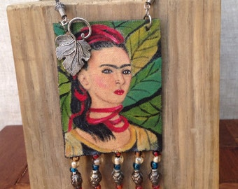 Hand Painted Frida Kahlo Necklace, Frida Art, Pendant Necklace, Frida Kahlo Necklace, Wearable art, Frida Beaded Necklace,