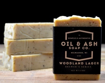 Woodland Lager Beer Soap, All Natural Soap, Essential Oil Soap, Cold Process Soap, Exfoliant Soap, Handmade Soap, Coffee Soap