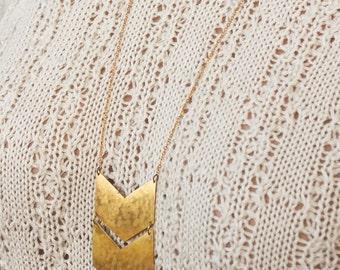 Hand-cut gold chevron necklace, double chevron necklace, statement necklace