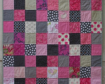 Grey and Pink Quilt, Patchwork Quilt, Baby Girl Quilt, Crib Quilt