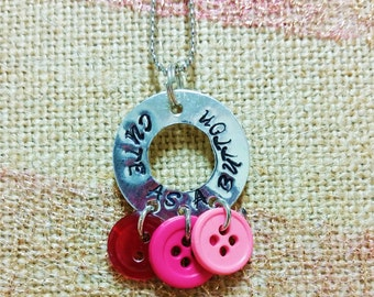 Cute as a Button Stamped Necklace