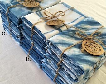 Hand dyed indigo shibori tie-dye linen/cotton tea towels