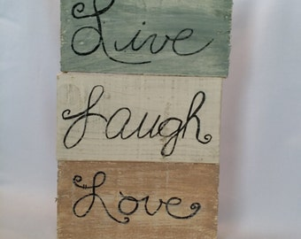 rustic signs Live, Laugh, Love, reclaimed wood stackable inspirational set