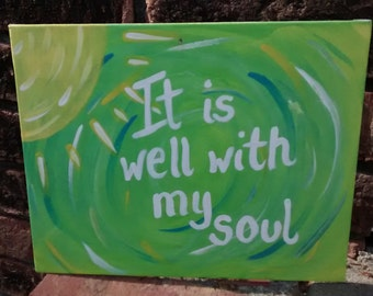 It Is Well Abstract Sun Green Canvas Art Acrylic Painting